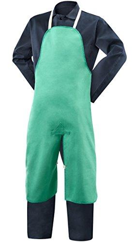 Steiner Apron - Steiner 10336 Bib Apron, Split Leg Weldlite Green 9.5-Ounce Flame Retardant Cotton, 24-Inch x 40-Inch