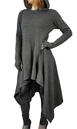 Girl Teen Casual Loose Fit Cool Hoodies Sweater Hoodies Pullover Overall Gray (Hooded Sweater Dress)