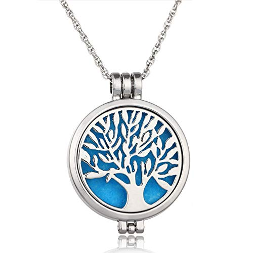 Wish House Tree of Life Necklace Aromatherapy Essential Oil Diffuser Necklace, Hypoallegenic Stainless Steel Locket with 24 Chain 12 Refill Pads