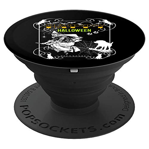 Witch Flying With Dog Happy Halloween Funny Gift Grip - PopSockets Grip and Stand for Phones and Tablets ()