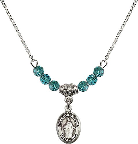 December Birth Month Bead Necklace with Our Lady of Africa Petite Charm, 18 Inch by Birth Month Necklace Collection