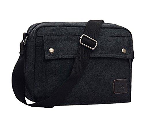 Ecokaki(TM) Vintage Canvas Shoulder Business Bag Casual Messenger Bag iPad Bag Satchel Bag, Black by Ecokaki