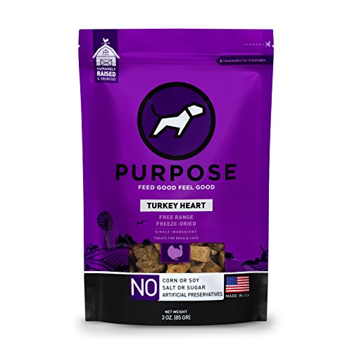 PURPOSE Freeze-Dried Raw Dog Treats Free-Range Diced Turkey Hearts 3 oz. for Dogs and Cats