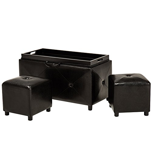 Folding Storage Ottoman Bench, Faux Leather, 2 Ottoman Inside For Sale