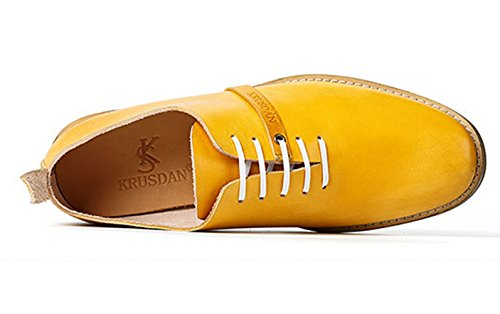 Laces Shoes Leather 9 Men's Insun Oxford 5 Yellow v1WpTnZF