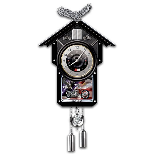 Motorcycle-Themed Collectible Wooden Cuckoo Clock: Time Of Freedom by The Bradford Exchange (Harley Clock Motorcycle Davidson)
