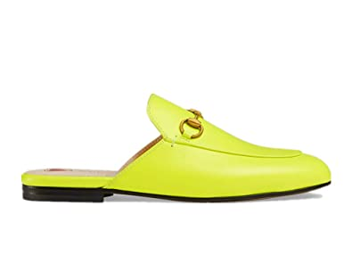 bbc3fcf9341 Shihongqing Womens GG Princetown Leather Slippers 557730 Fluorescent Yellow  (36EU)