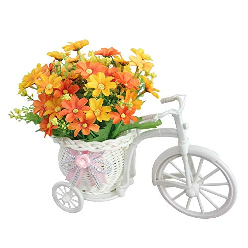 JAROWN Mini Garden Artificial Flora Silk Rose Ddisy Hand-Woven Flower Baskets Bicycle Stand for Home Office Decoration (Yellow Daisy)