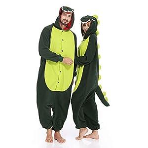 Adult Onesies Dinosaur Pajamas Animal One Piece Cosplay Halloween Xmas Costume for Men Women