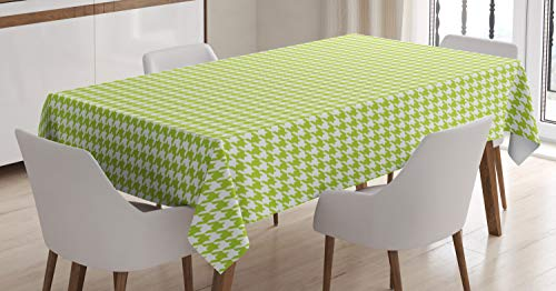 Lime Textile Green Pattern - Ambesonne Houndstooth Tablecloth, Abstract Textile Pattern Scottish Ethnic Four-Pointed Checks Artsy Motif, Dining Room Kitchen Rectangular Table Cover, 60 W X 90 L Inches, Lime Green White