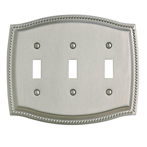 Baldwin Estate 4793.150.CD Rope Triple Toggle Wall Plate in Satin Nickel, 5.6