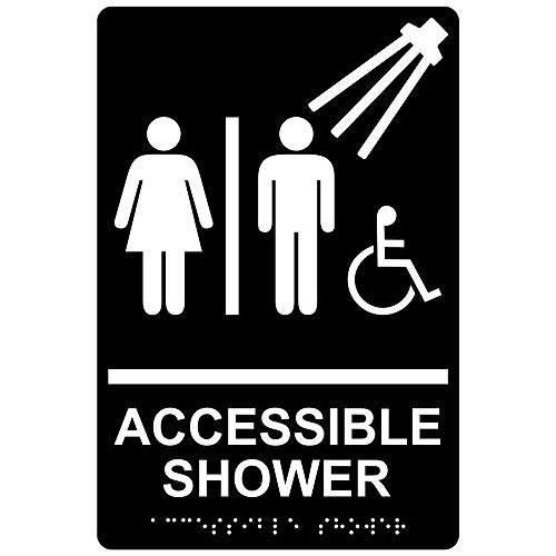 ComplianceSigns Acrylic ADA Accessibility Sign, 9 x 6 in. with English + Braille, Black ()