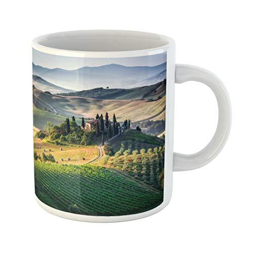 (Semtomn Funny Coffee Mug Green Tuscan Tuscany Panoramic Landscape Italy Italia Nature Farmhouse 11 Oz Ceramic Coffee Mugs Tea Cup Best Gift Or Souvenir)