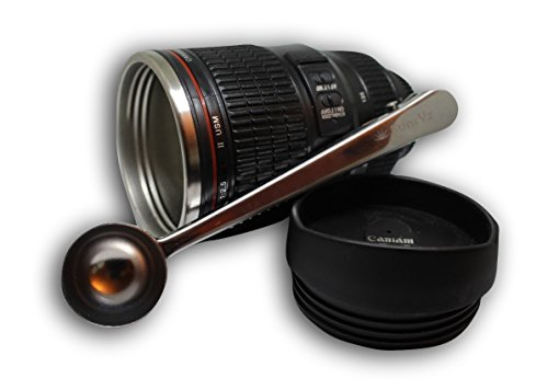 Canon Camera Lens Coffee Mug Stainless Steel Premium - Travel Coffee Mug Insulated Thermos Cup with Black Easy Sip Lid and BONUS Free Clip Spoon + FREE Coffee E-Book by - Glasses Prescription Ireland