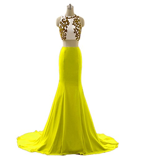 Yellow Appliques Dresses Chupeng Evening Two Mermaid s Prom Women Piece Formal qETEvZHw