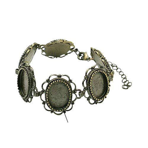 (PandaHall 1 pcs Brass Filigree Link Bracelet with 6 Oval Blank Tray Fit 13x18mm Oval Cabochon for Jewelry Making Antique Bronze)