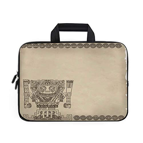 Native American Laptop Carrying Bag Sleeve,Neoprene Sleeve Case/Mayan and Inca Tribal Symbols Superstition Primitive Relic Archeology/for Apple MacBook Air Samsung Google Acer HP DELL Lenovo AsusGrey ()
