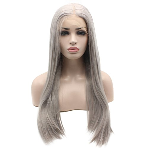 Iewig Long Straight Synthetic Lace Front Half Hand Tied Gray Wig