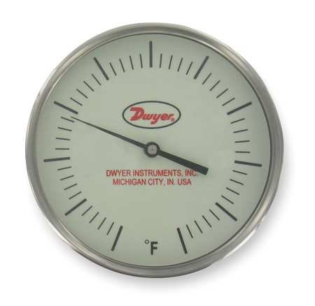 240f Dial Thermometers - Dwyer Instruments - GBTB590141 - Bimetal Thermom, 5 In Dial, 20 to 240F