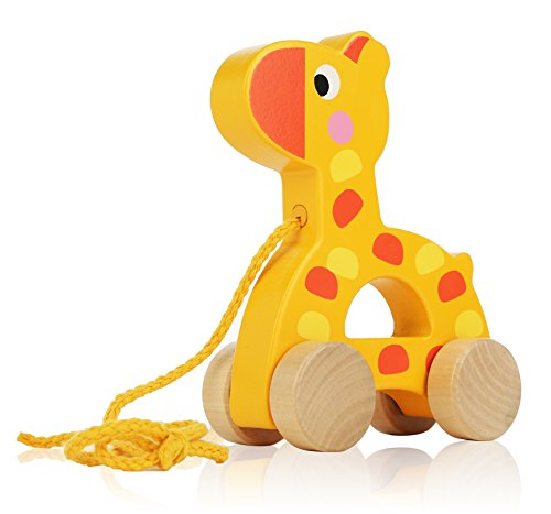 Adorable Giraffe Wooden Animal Pull Toy - Solid Wood Educational Baby Toy for Toddler Boys and Girls Age 6-12 Months, 1 Year and Up - Classic Developmental Pull Toy