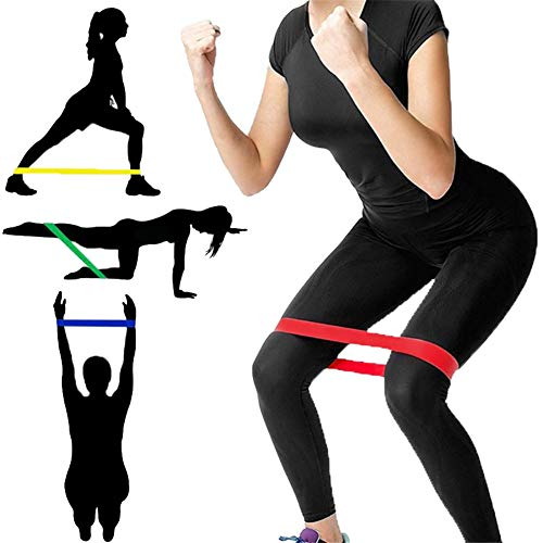 5-Set Resistance Loop Bands Natural Latex with Carrying Pouch - Best Indoor Gym Fitness Exercise Bands for Legs Glutes with Carry Bag for Women Men Workout Physical Therapy Pilates Yoga Rehab