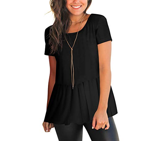 HPLY Womens Short Sleeve Round Neck Cotton T-Shirts Casual Ruffle Hem Tee Tops Black/XL
