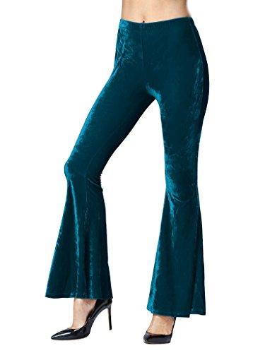 Velvet Bell Bottom Pants (PERSUN Women's Green Trendy Velvet Bell Bottom High Waist Flared Basic Pants,Medium)