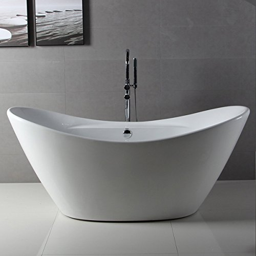 FerdY 68'' Acrylic Stand Alone Bathtub, White Modern Freestanding Bathtub Soaking Bathtub, Easy To Install,  Drain and Overflow Assembly Included