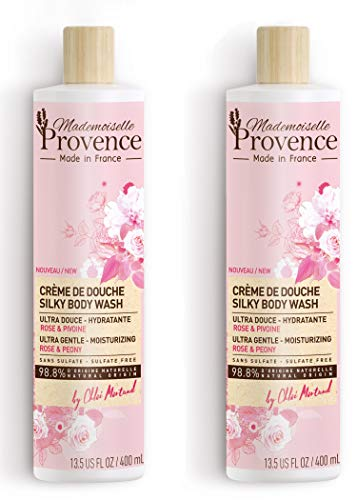 Mademoiselle Provence Natural Silky Peony & Organic Rose Body Wash, Sulfate Free Bath & Shower Body Cleanser, Ultra-Gentle Hydrating Vegan Formula, Cruelty Free, Made in France (Pack of 2)