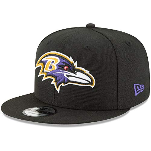 New Era Baltimore Ravens Hat NFL Black Team Color Logo 9FIFTY Snapback Adjustable Cap Adult One Size