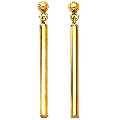 Bar Dangle Earrings Solid 14k Yellow Gold Round Posts Polished Fashion Design Genuine 40 x 2.5 mm