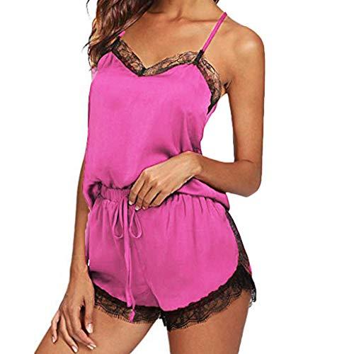 Women Satin Pajamas Set Silk Lace Sleepwear Cami Nightwear Shorts Lingerie 2 Pcs Pajamas Hot Pink