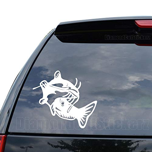 Catfish Fish Fishing Decal Sticker Car Truck Motorcycle Window Ipad Laptop Wall Decor - Size (11 inch / 28 cm Wide) - Color (Matte White)