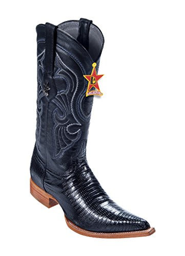 Men's 3X-Toe Black Genuine Leather Teju Lizard Western Boots