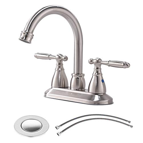 - VESLA HOME Commercial 2-Handle Lever Hot and Cold Mixer Lavatory Brushed Nickel Bathroom Faucets, Bathroom Sink Faucet Black with Pop Up Drain and Supply Water Hose