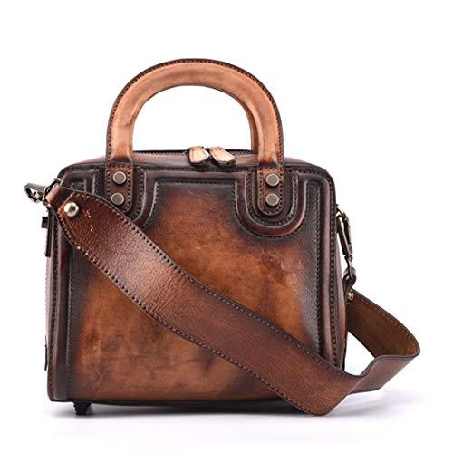 De Rétro Première tout Sac color La Magai Fourre Main Unie Brown Style En Brown À Couleur Cuir Couche fx6tAnq