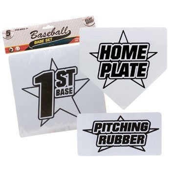 Baseball Base Set with Home Plate and Pitcher's Mound