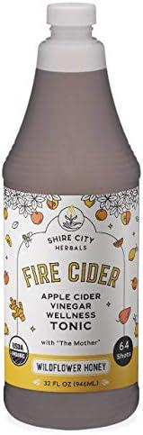 NEW! Fire Cider, Tonic, 32 oz, Wildflower Honey flavor, 64 Daily Shots, Apple Cider Vinegar, Whole, Raw, Organ
