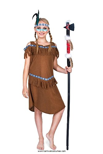 Indian Princess Costume, Girls Native American Dress, Kids 5-6 Years, Medium Brown
