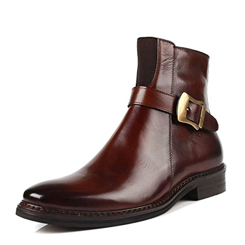 Fulinken Leather Formal Dress Boots Buckle Ankle Boots Fashion Mens Chukka Shoes (11 US MEN, Brown)
