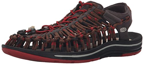 - KEEN Men's UNEEK Stripes Sandal, Red Dahlia/Raya, 9 M US