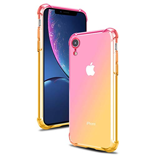 Price comparison product image Airror Phone Case Compatible with iPhone XR,  Clear Multi-Color Gradients Slim Case,  Impact Resistant Protective Flexible Soft TPU Cover [ Support Wireless Charging ] - Pink & Yellow