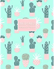 """2021-2022 Academic Planner: Large 8.5""""x11""""inch September 2021-August 2022 Academic Planner for Students and Teachers Simple and Elegant Dated Daily/Weekly/Monthly Organizer with Green Cactus Plants Cover"""