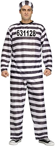 Fun World Men's Adult Jailbird Costume, White/Black, One (Black And White Halloween Costumes For Men)