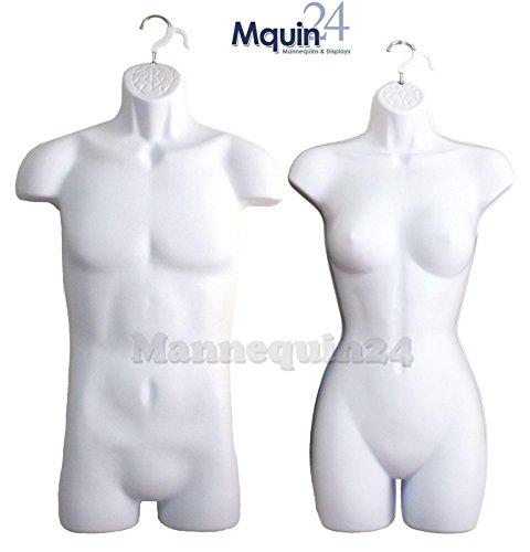 Female + Male Dress Mannequin Form Set (2 Mannequins) White