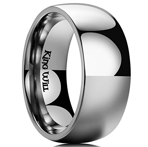 King Will Basic 9MM Titanium Ring Domed Polished Comfort Fit Wedding Band for Men 9.5