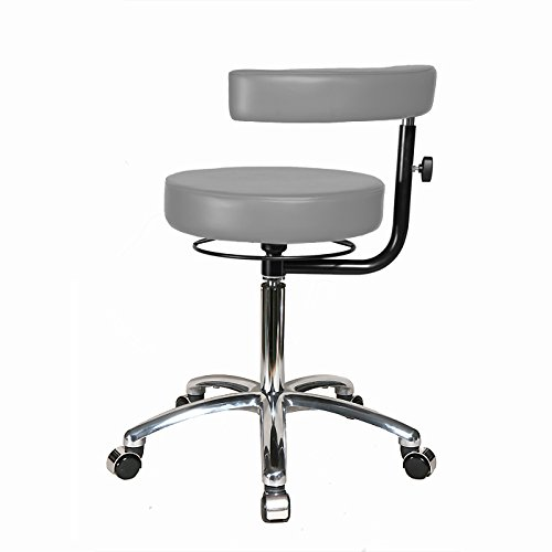 Top Medical Dental Stool with Procedure Arm and Chrome Base 19.5'' - 22'' - Grey Dove Vinyl - Chrome Casters by Top Medical (Image #3)