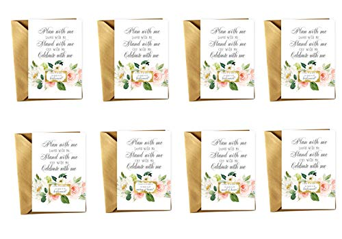 (Graceful Floral Be My Bridesmaid Scratch Off Cards with Gold Envelopes Set of 8 Proposals (1 Maid of Honor + 1 Matron of Honor + 6 Bridesmaid Proposal Invites) Asking)