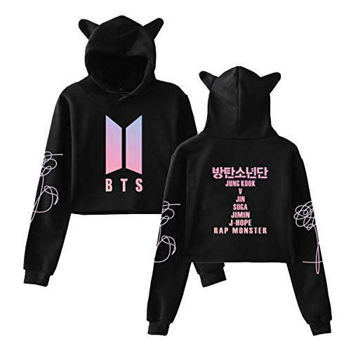 Logo Hoodie Top - Qaedtls Kpop BTS Love Yourself Crop Top Hoodie Jimin Jungkook Suga V Sweater Jacket S Black(Big Logo)
