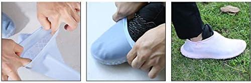 XHYRB シリコーン靴カバー、ステッピング-持っている必要があります水スキッド防雨防水ゴムストレッチ大型靴カバー屋外学生レインブーツ、ホワイト、ピンク、ブルー、ブラック、イエロー 防水靴、防雨カバー、長靴 (Color : White, Size : S)